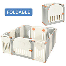 Home Foldable Baby Playpen 14 Panel Activity Center Safety Play Yard w/Lock Door