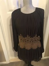 New P.A.R.O.S.H Blouse Pleaded Black/Brown Lace  Belt Lining SZ S