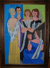 """Original Oil Painting """"FIVE WOMEN"""" on Canvas FRAMED 38"""" x 26"""" Matisse/Picasso"""