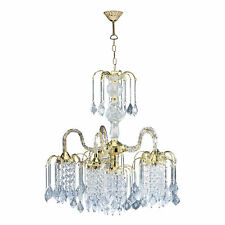 "25"" Tall Metal Chandelier with Polished Brass Finish and Crystal Accents"