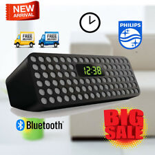 PHILIPS Wireless Bluetooth Speaker Stero Bass Sound System MP3 Player LED Clock