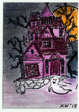 JKW Halloween GHOST Haunted House Mansion Trees Folk Art ACEO Original Painting