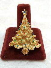 "EISENBERG ICE Goldtone Enamel Christmas Tree Vintage Brooch Pin 2"" Jewelry"