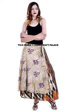 Indian Women Floral Rapron Silk Long Skirt Wrap Around Printed Skirt Bohemian