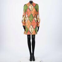 GUCCI 3200$ Silk GG Rhombus Ramage Mini Dress With Chain Belt