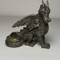 """Collectible Pewter Dragon Figurine Metalware With Crystal Glass Ball 4"""""""