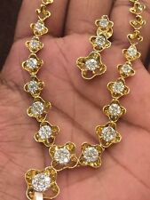 Classy 3.36 Cts Natural Diamonds Necklace Earrings Set In Solid 14K Yellow Gold