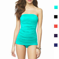 One-Piece Solid Ruched Bandeau Swimsuit Strapless Straps Swimwear Bathers sw1019