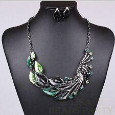 Fashion Jewelry Pendant Peacock Tail Alloy Choker Chain Bib Necklace Green
