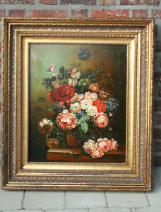 Gorgeous  flanders school oil canvas painting signed Floral still live 1960's