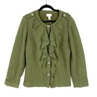 Chicos Womens Jacket Green Heathered Buttons Lined Ruffle Front Crew Neck 1 M/8