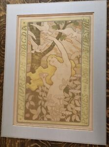 Antique 1898 Paul Berthon Art nouveau Lithograph Toned Paper W/ Matt Hi Value LR