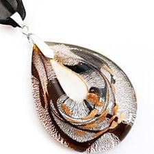 Silver Teardrop Handmade Lampwork Murano Glass Bead Pendant Ribbon Necklace Cord