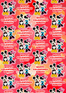 Mickey and Minnie Personalised Valentines Day Gift Wrap - Disney Wrapping Paper