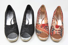 2 Pairs of Faded Glory Open Toe Wedge Shoes 6.5 M Black/Silver & Mutlicolor