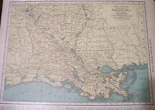 Antique 1929 Large Color Map LOUISIANA Collectible Frameable State Memorabilia
