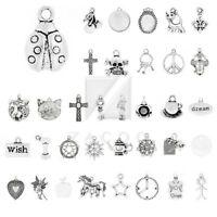 40 Style 10-100pcs Antique Tibetan Silver Metal Charm Pendant Jewelry Finding