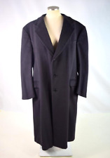 Vtg 80s Saks 5Th Avenue Navy Blue Cashmere Wool Trench Coat Duster Jacket Sz 44