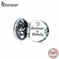 BAMOER Women DIY CZ Charm S925 Sterling Silver Family tree Bead Fit Bracelets