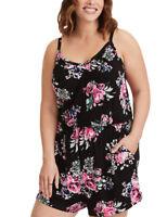 Plus Size Women Summer Floral Print Playsuit Jumpsuit Rompers Mini Shorts Dress