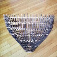 VTG Mid Century Franco Albini Style Rattan Fish Trap Woven Basket Replacement