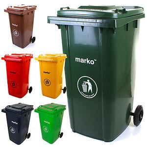 Wheelie Bin 240L Household Council Rubbish Recycling Green/Grey Outdoor Waste