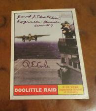 Doolittles Raiders R E Cole & David Thatcher autographed signed card WW2