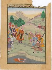 Indian Ethnic Miniature Mughal Procession Old Paper Painting Art Moghul Boho