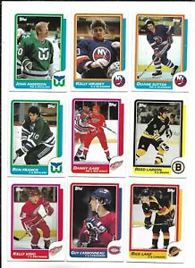 1986-87 Topps Hockey:Lot of 9 different