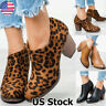 US WOMEN ANKLE CHELSEA BOOTS LOW MID BLOCK HEESL ZIP UP V CUT BOOTIES SHOES SIZE