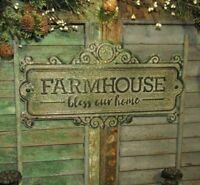 Primitive Antique Vtg Style Bless Our Home FARMHOUSE Verdigris Rust Tin Sign