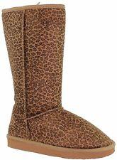 New Women's Fur Lined Comfort Mid Calf Slipper Boots Leopard color size 8