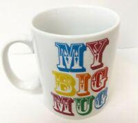 "My Big Mug Coffee Large Cup  8 oz Red Brown White 4 1/2"" 3 1/2""  24 Ounces"
