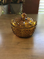 VINTAGE FENTON MARKED AMBER HOBNAIL CANDY DISH WITH LID