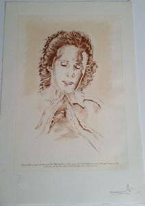 SALVADOR DALI LIMITED EDITION HAND SIGNED SIGNATURE * WOMAN IN PRAYER *
