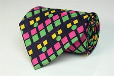 FRANCK OLIVIER Paris Silk Tie. Psychedelic Vibrant Multi-Color Geometric Shapes