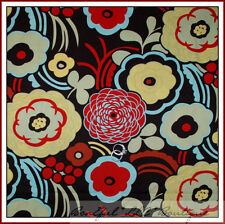 BonEful Fabric FQ Cotton Quilt Brown Red Yellow Blue VTG Mocca Large Flower Dot