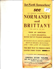 See Normandy and Brittany France Motor Trip Pullman Green Star Tours Booklet