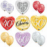 Qualatex ANNIVERSARY Latex & Foil Balloons -25 Silver, 40 Ruby, 50 Gold, Diamond