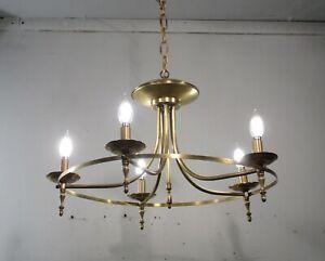 Antique Vintage Mid Century Modern 5 Light Fixture Brass Ring Ceiling Lamp