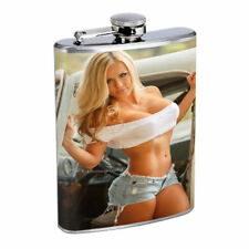 Colorado Pin Up Girls D11 Flask 8oz Stainless Steel Hip Drinking Whiskey