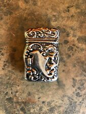 Antique Sterling Silver Match Safe Vesta Griffin Repousse
