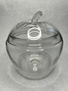 Vintage Anchor Hocking apple clear glass canister cookie jar w/lid