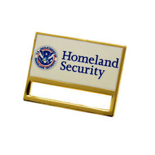 Homeland Security ID Card Holder Clip-on Pin with locking clasp DHS Gold/Enamel