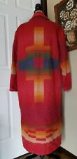 Vintage Woolrich Southwest Aztec Wool Blanket Long Jacket Coat Size L Large