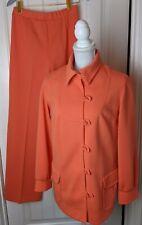Vtg 60's 70's Butte Knit 3 Pc Orange Pant Suit Toggle Buttons Striped Top M/L