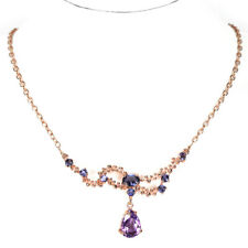 """NATURAL AAA PURPLE AMETHYST 12X8 MM. & IOLITE STERLING 925 SILVER NECKLACE 17.5"""""""