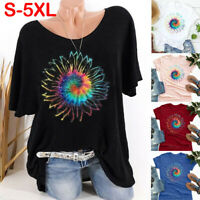 Women Summer Short Sleeve T Shirt Blouse Ladies Sunflower Basic Tee Tops Ceng