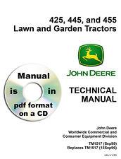 John Deere 425 445 455 Lawn & Garden Tractor Service Technical Manual TM1517 CD