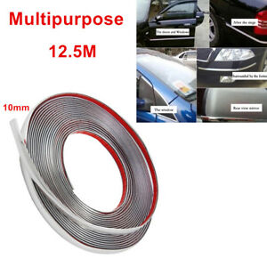 12.5m Silver 3M Adhesive Car Door Body Edge Moulding Trim Guard Strip Protector